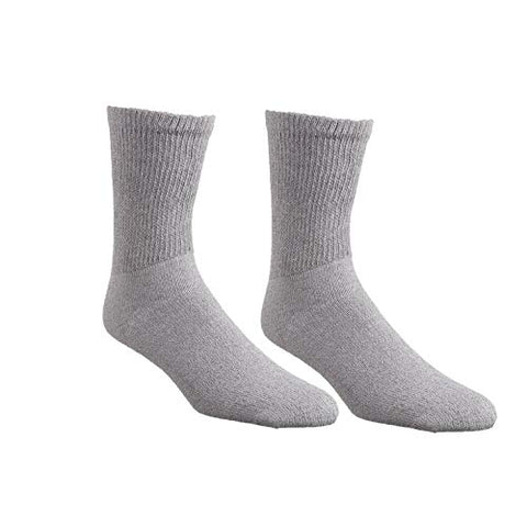 Comfort Finds Diabetic Crew Socks  Size 10-13  Breathable Cotton Socks  Loose Fitting Sock  Non Binding Top Design Improve Foot Circulation  Painful Swollen Feet Relief (Gray, 6 Pairs)