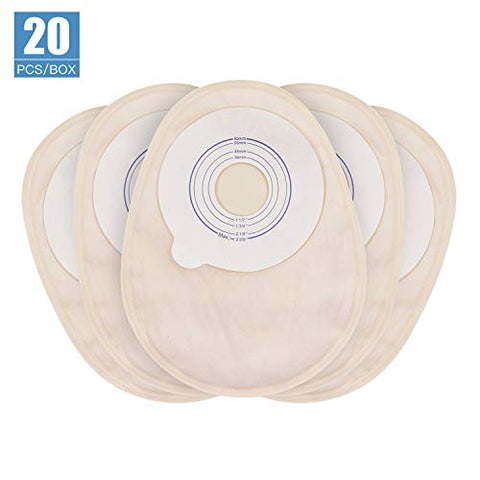 OSTUPMED Ostomy Bags with Closed end 20Pcs One Piece Ostomy Drainable Pouches for Colostomy Ileostomy Stoma Care Cut-to-Fit (1 1/2