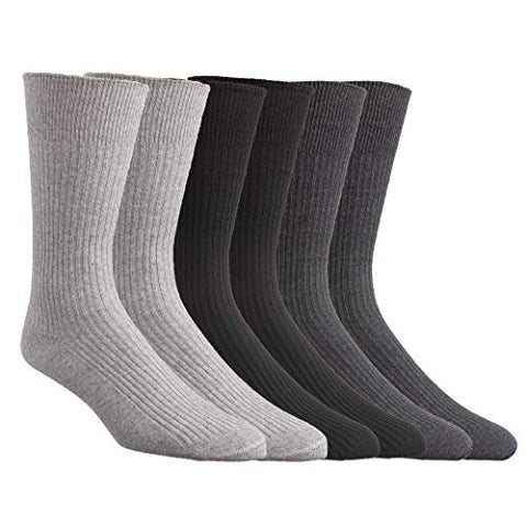 Comfort Finds Diabetic Dress Socks (Light Gray, Charcoal, Black (6 Pair), 10 to 13)