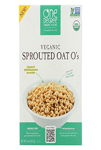 One Degree Organic Foods Cereal, Veganic, Sprouted Oat O's