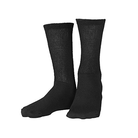 Truform Diabetic Socks for Men and Women, Medical Style Crew Length, Mid Calf Height, 3 Pairs, Black, Small