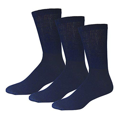 3 Pairs of Cotton Diabetic Neuropathy Crew Socks (10-13, Fits Mens Shoe Size 9-12, Navy)