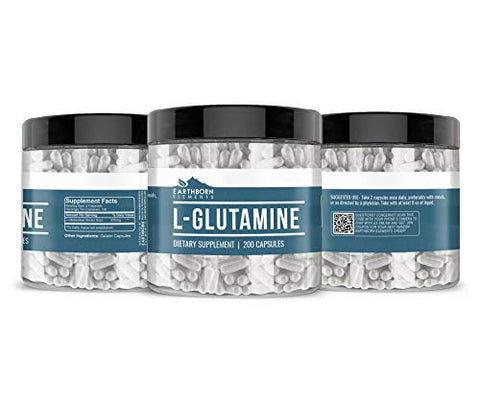 EARTHBORN ELEMENTS L-Glutamine (200 Capsules) Pure Amino Acid, Non-GMO & Gluten-Free (970 mg Serving)