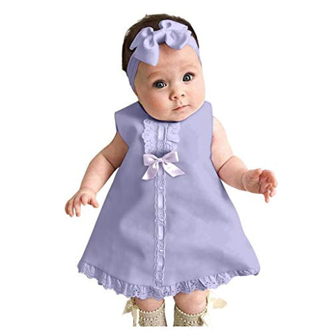 heavKin-Clothes Fashion Newborn Baby Cute Mini Skirts Sleeveless Bow Lace Dress + Hairband 2-Piece Outfits