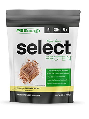 PEScience Select Vegan Plant Based Protein Powder, Cinnamon Delight, 5 Serving, Pea and Brown Rice Blend