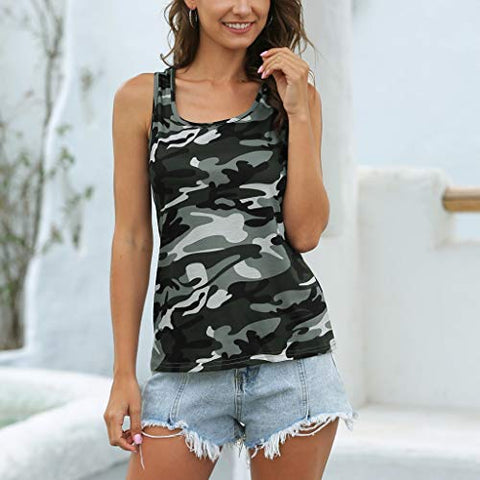 heavKin-Clothes Women's O-Neck Sports Tank Tops Camouflage Fashion Wild Sleeveless Vest T-Shirt Blouse