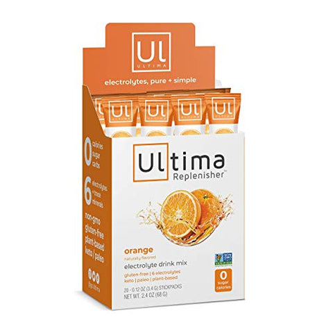 Ultima Replenisher Electrolyte Hydration Powder, Orange, 20 Count Stickpacks - Sugar Free, 0 Calories, 0 Carbs - Gluten-Free, Keto, Non-GMO with Magnesium, Potassium, Calcium