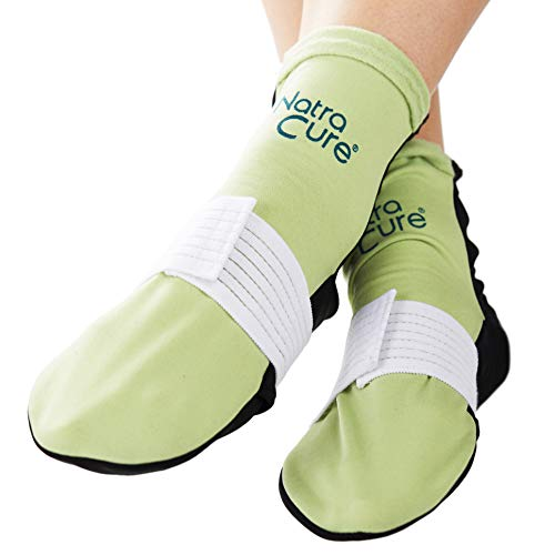 Natra Cure Cold Therapy Socks (W/Compression Strap)   Reusable Ice Pack Arch Support Slippers, Planta