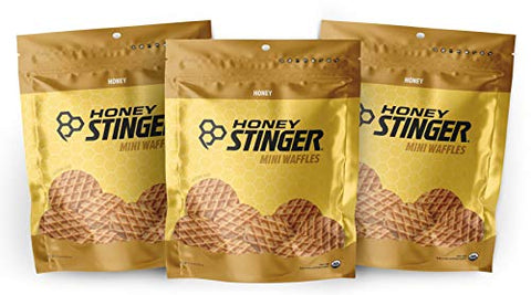 Honey Stinger Mini Waffles  Variety Pack with Sticker  3 Count  Honey Flavor Energy Source for Any Activity  Resealable Bags