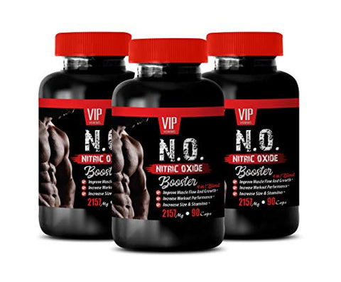 pre Workout Muscle Growth - N.O. - Nitric Oxide Booster - Increase Nitric Oxide - 3 Bottles 270 Capsules