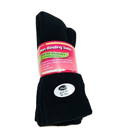 J.T. Foote - Non Binding Diabetic Socks Crew Ladies 3pk - Black Size 9-11