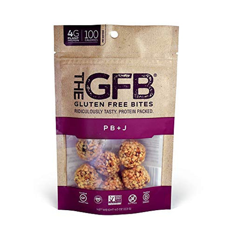 The GFB Gluten Free Protein Bites, PB+J, 4 Ounce (6 Count), Vegan, Dairy Free, Non GMO, Soy Free