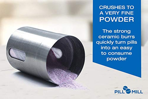 Pill Mill Pill Crusher   Crushes Multiple Tablets To A Fine Powder   Metal Medicine Grinder   Tablet