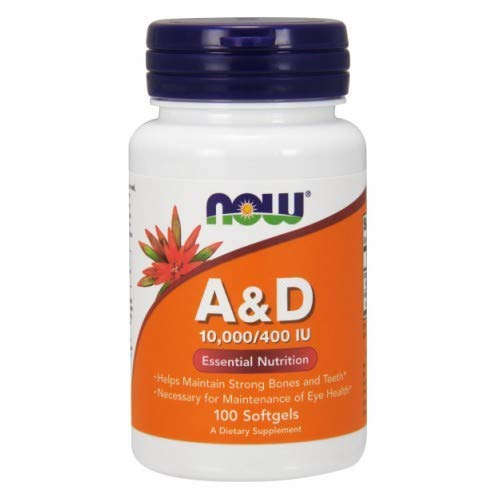 Now Foods Vitamin A & D, 100 Sgels 10000/400(Pack of 5)