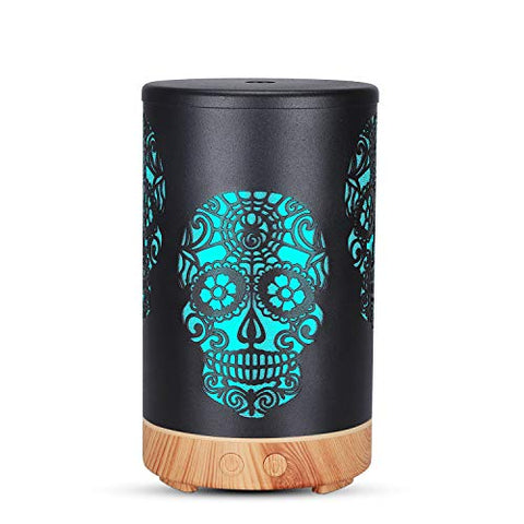 Diffusers for Essential Oils, Day of The Dead Sugar Skull Art Design 100 ml Ultrasonic Quiet Cool Mist Humidifier with 7 Color LED Lights, Skull Dcor Best Gifts (Wood Grain Base)