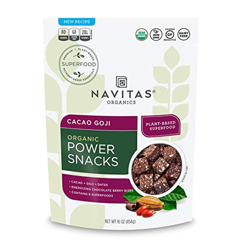Navitas Organics Superfood Power Snacks, Cacao Goji, 16 oz. Bag, 23 Servings - Organic, Non-GMO, Gluten-Free