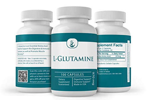 L-Glutamine (100 Capsules) Naturally Sourced Amino Acid, Potent, Non-GMO & Gluten-Free (970 mg Serving)