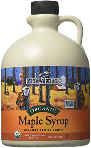 Coombs Family Farms Organic Maple Syrup, Grade A Amber Color, Rich Taste, 64-Ounce Jug