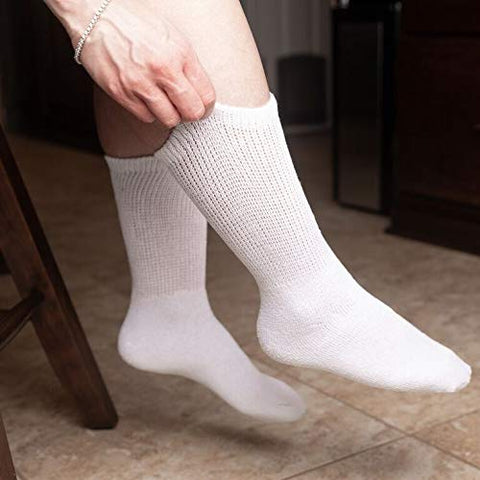 Comfort Finds Diabetic Crew Socks  Size 10-13  Breathable Cotton Socks  Loose Fitting Sock  Non Binding Top Design Improve Foot Circulation  Painful Swollen Feet Relief (White, 6 Pairs)