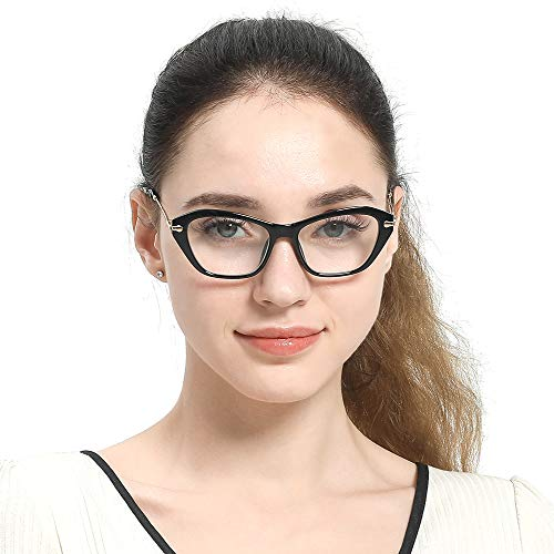 SOOLALA Womens Quality Fashion Alloy Arms Cateye Customized Reading Glasses, Black, 1.5D