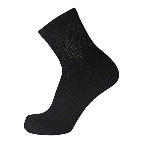 Big and Tall Diabetic Cotton Neuropathy Ankle Socks, King Size Mens Athletic Socks (13-15, Quarter Black) - 12 pairs