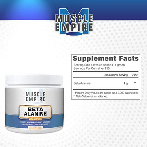 Beta-Alanine Powder - Improved Recovery & Muscle Energy - 250 Grams - Muscle Empire