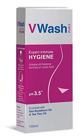 VWash Plus Women's Expert Intimate Hygiene Wash with Unique pH Formula, 100ml (Pack of 3)