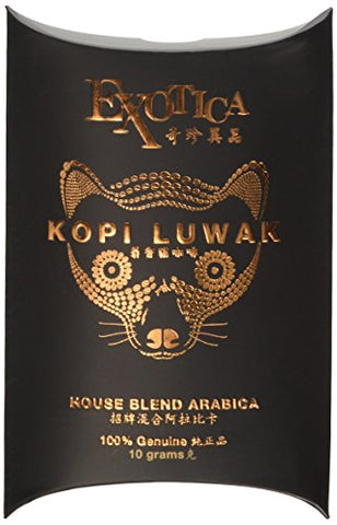 The World's Most Exclusive Coffee, 100% Genuine Kopi Luwak Specialty Arabica House Blend Ground Gourmet Coffee (10g sachet)