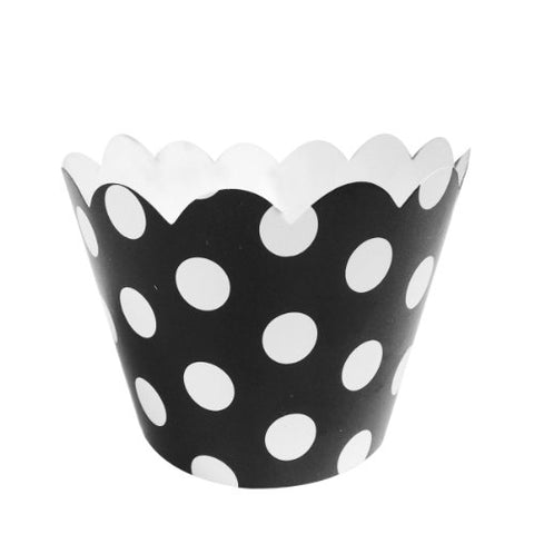 Wrapables Standard Size Polka Dots Cupcake Wrappers (Set of 60), Black