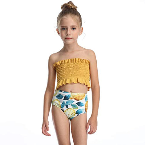 Summer Kids Girls Swimwear Sling Bikini Print Casual 2-Piece Swimsuit (Yellow, 6-8 Years)