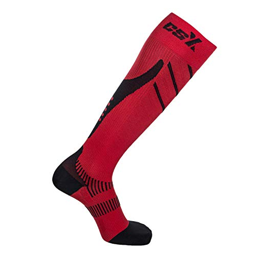 CSX Compression Socks for Men and Women, Knee High, Recovery Support, Athletic Sport Fit, Black on Red, Small (15-20 mmHg)