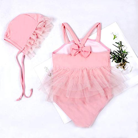 Baby Girls One-Piece Swimsuit Solid Color Sleeveless Tulle Swimwear + Swim Cap,Bathing Suits 2 Piece Set (Pink, 6-7 Years)