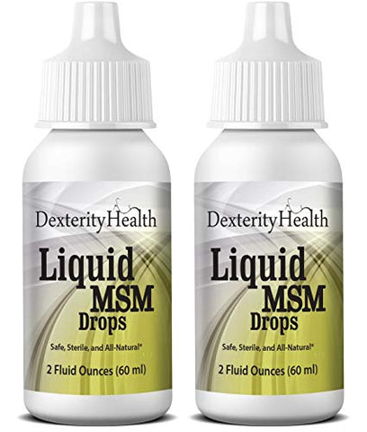 Dexterity Health Liquid MSM Eye Drops 2-Pack of 2 oz. Squeeze-Top Bottles, 100% Sterile, Vegan All-Natural and Non-GMO, Contains Organic MSM