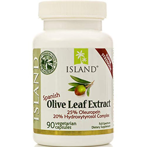 Real European Olive Leaf Extract - 25% Oleuropein, Plus 20% Hydroxytyrosol ComplexTM - 100% Grown & Extracted in Spain - Super-Strength Capsules by Island Nutrition