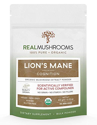 Lions Mane Mushroom Extract Powder, Vegan & Certified Organic Mushroom Supplement, Non Gmo 60g Bulk