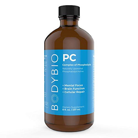 BodyBio - PC Phosphatidylcholine + Phospholipids - Liposomal for High Absorption - Optimal Brain & Cell Health - Boost Memory, Cognition, Focus & Clarity - 100% Non-GMO - 8 oz