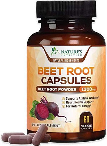 Beet Root Capsules - 1300mg Per Serving - Organic Beetroot Powder Extract - Made in USA - Vegan Herbal Nitrate Supplement - Nitric Oxide Supports Natural Performance and Energy - NonGMO - 60 Capsules
