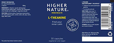 Higher Nature Theanine 100mg Pack of 30