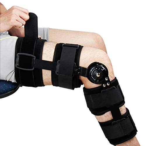 REAQER Hinged Knee ROM Brace Patella Brace Orthosis Knee Orthoses Adjustable Knee Support Leg Support Suitable for Knee Injury Recovery,Postoperative Rehabilitation of Arthritis or Fracture