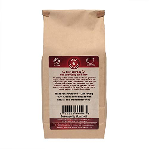 Lola Savannah Texas Pecan Ground Coffee - Arabica Beans Brimming with Roasted Pecan Flavor | Caffeinated | 2lb Bag
