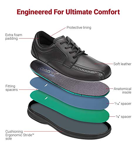 Orthofeet Proven Relief of Foot and Heel Pain. Extended Widths. Best Plantar Fasciitis, Orthopedic, Diabetic Men's Oxford Shoes, Gramercy Black