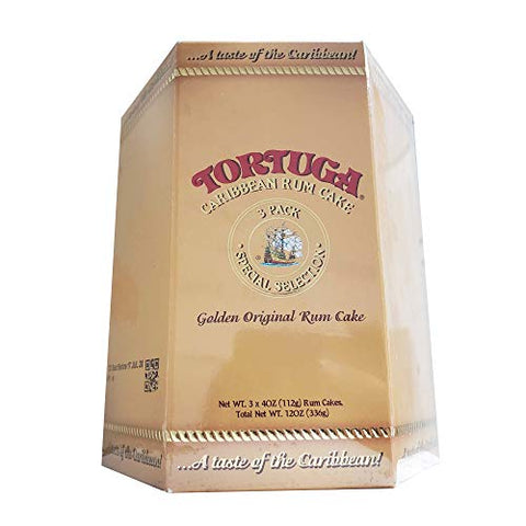 TORTUGA Caribbean Original Rum Cake with Walnuts - 4 oz. 3 Pack - The Perfect Premium Gourmet Gift