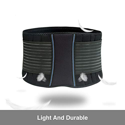BraceUP Stabilizing Lumbar Lower Back Brace Support Belt Dual Adjustable Straps Breathable Mesh Panels (XXL)