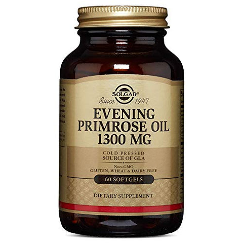 Solgar Evening Primrose Oil 1300 Mg, 60 Softgels   Promotes Healthy Skin & Cardiovascular Health   N