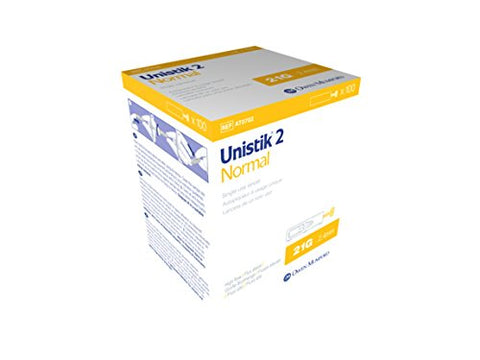 Unistik 2 Normal Safety Lancets, 21G X 2.4mm, 100 Count