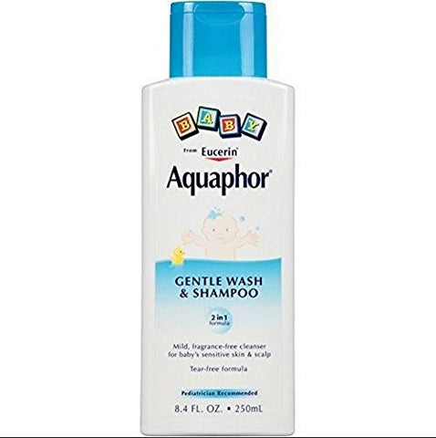 Aquaphor Baby Gentle Wash & Tear Free Shampoo, Fragrance Free Mild Cleanser 8.4 oz
