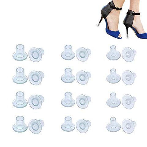 12 Pairs Clear High Heel Protectors Transprant Heel Stopers Heel Savers for Shoes (Small/Middle/Large)