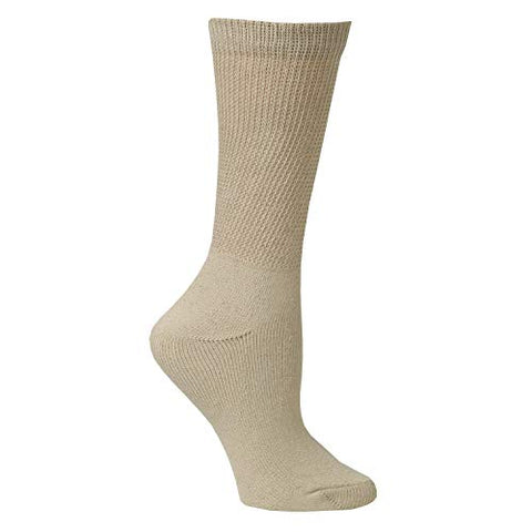 Unisex Buster Brown Wide Calf Diabetic Socks, Bariatric for Men Women- 3 Pairs - Beige - Large - 3 Pairs