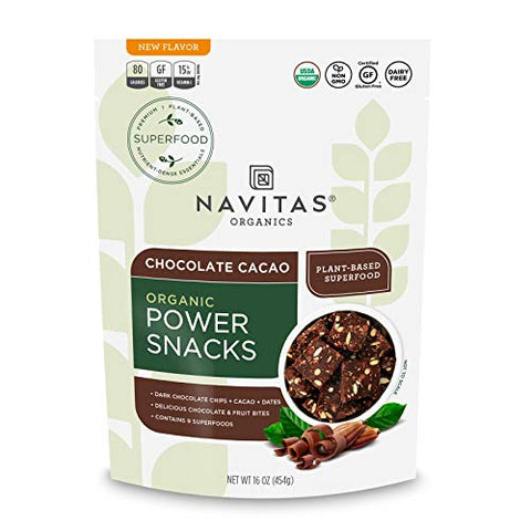 Navitas Organics Superfood Power Snacks, Chocolate Cacao, 16 oz. Bag, 23 Servings  Organic, Non-GMO, Gluten-Free
