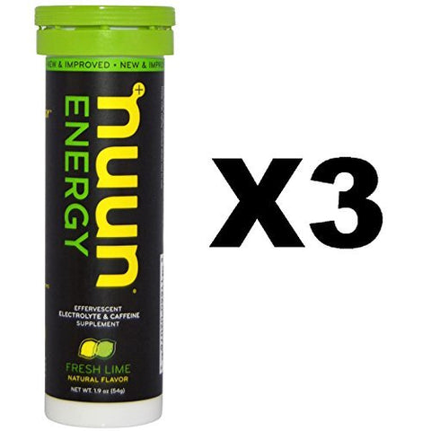 Nuun Sport + Caffeine: Fresh Lime Electrolyte Drink Tablets (3 Tubes of 10 Tabs)